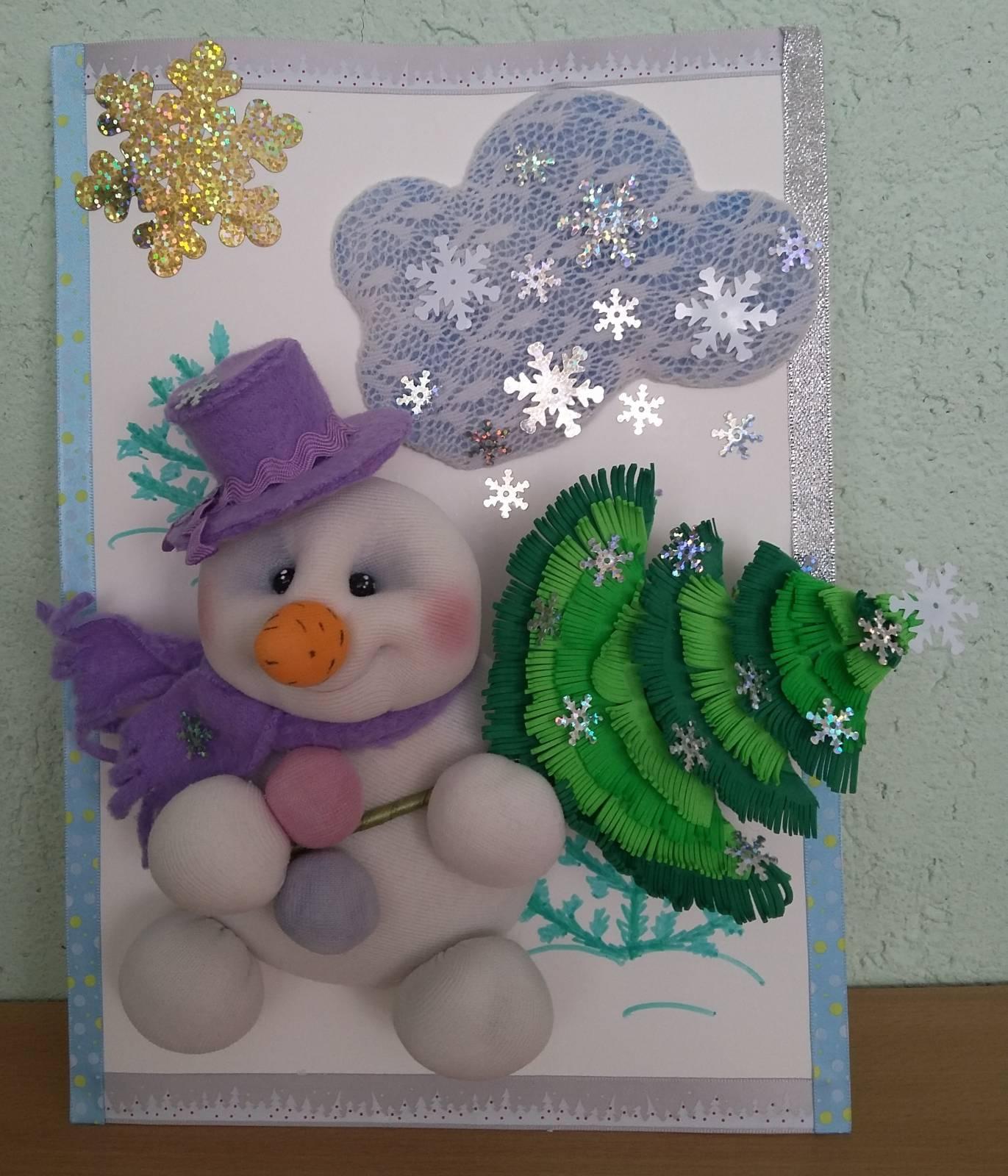 Весёлый снеговик поделка 51