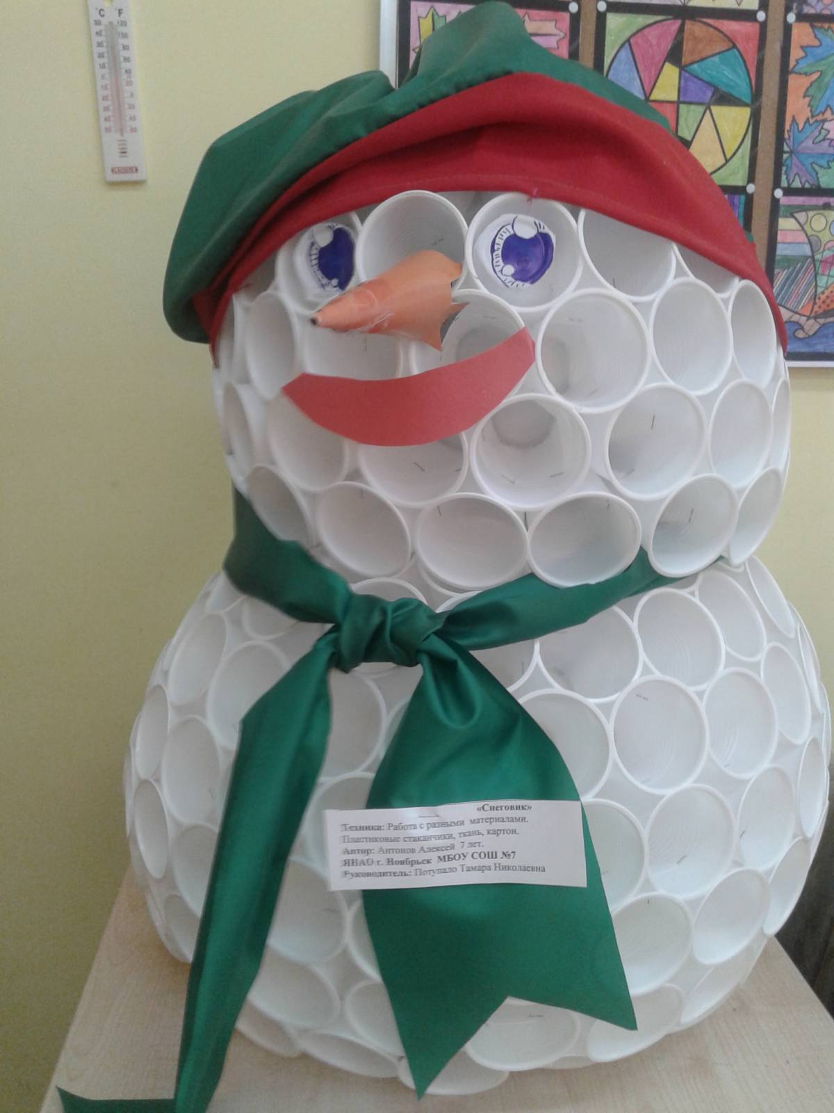 Весёлый снеговик поделка 47