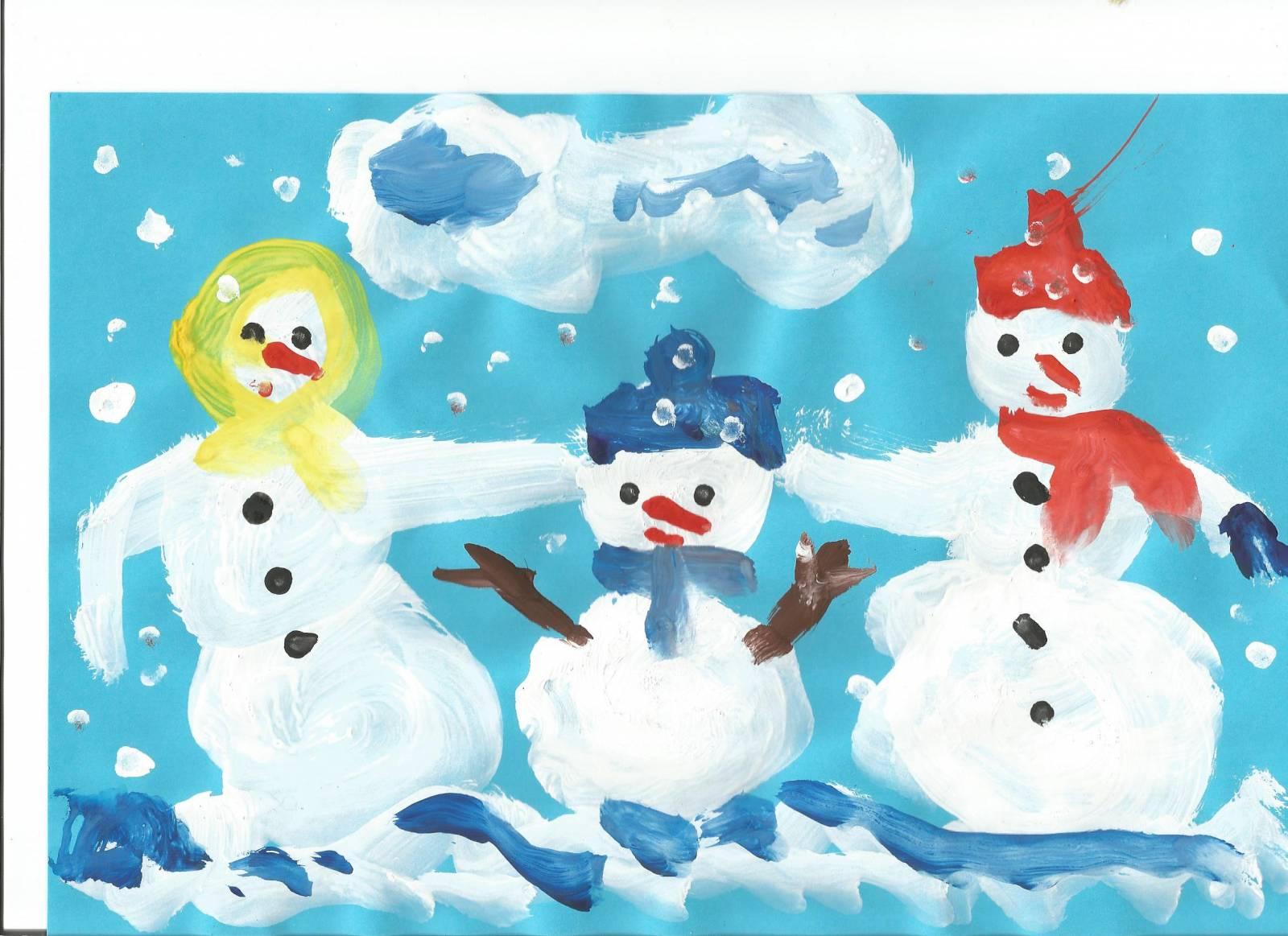 Дети рисуют снеговиков