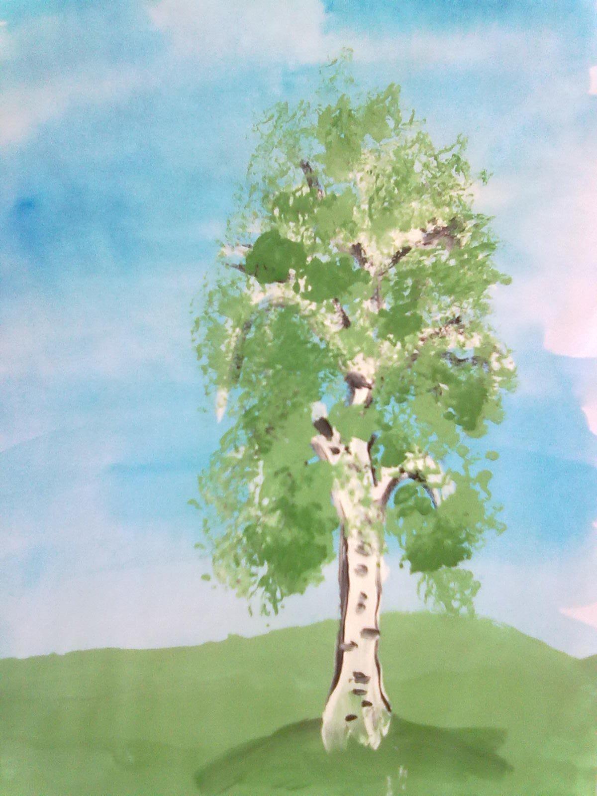 Картинка береза рисунок для детей