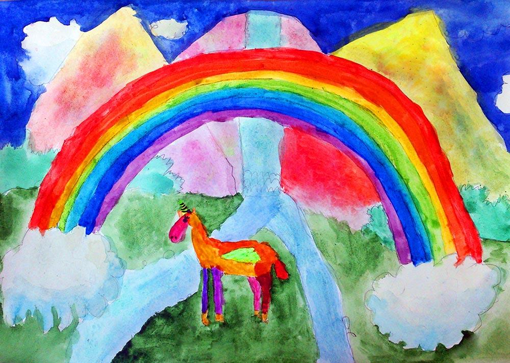 Картинка ребенок рисует радугу